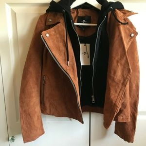7 For All Mankind Brown Genuine Suede Jacket